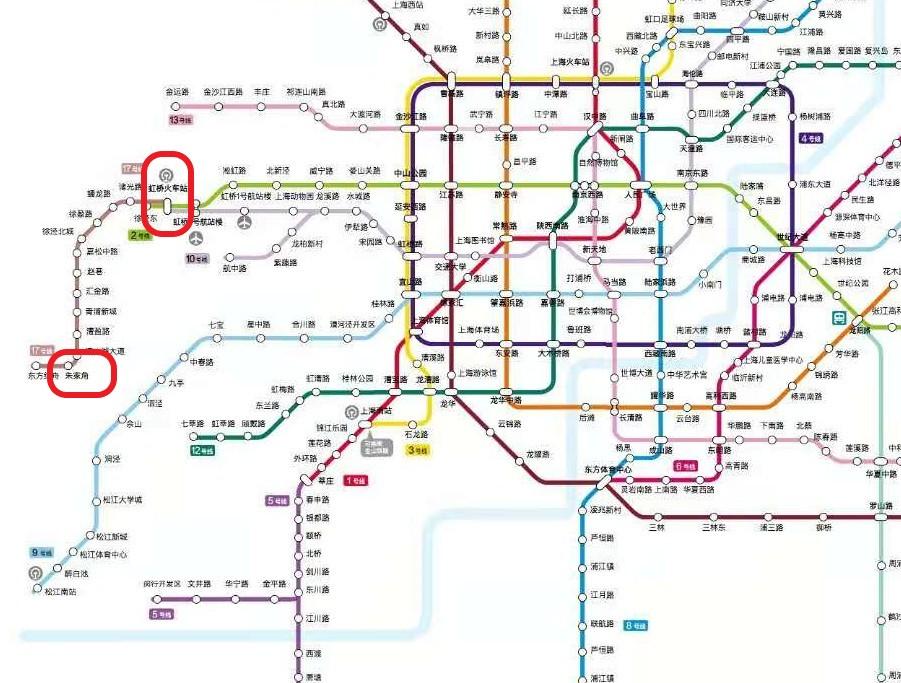 虹桥火车站(虹橋高速鉄道駅)と朱家角駅の位置関係を示したマップの写真