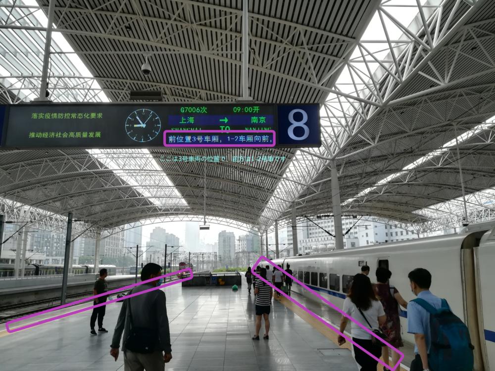上海駅高速鉄道のホーム内の電光掲示板の様子を撮影した写真