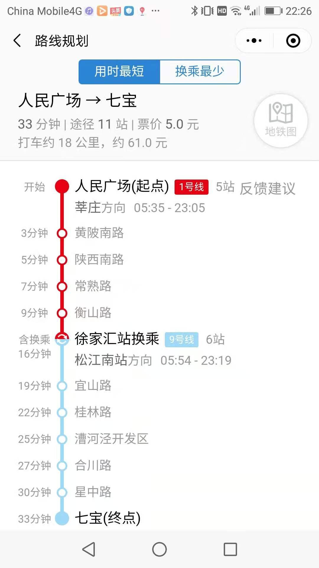 上海市内(人民広場)から七宝までの行き方の詳細の写真