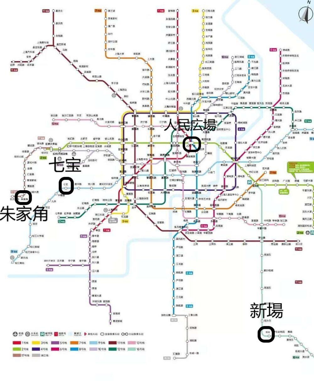 上海地下鉄のマップ上での朱家角・七宝・新場古墳の位置を示した写真