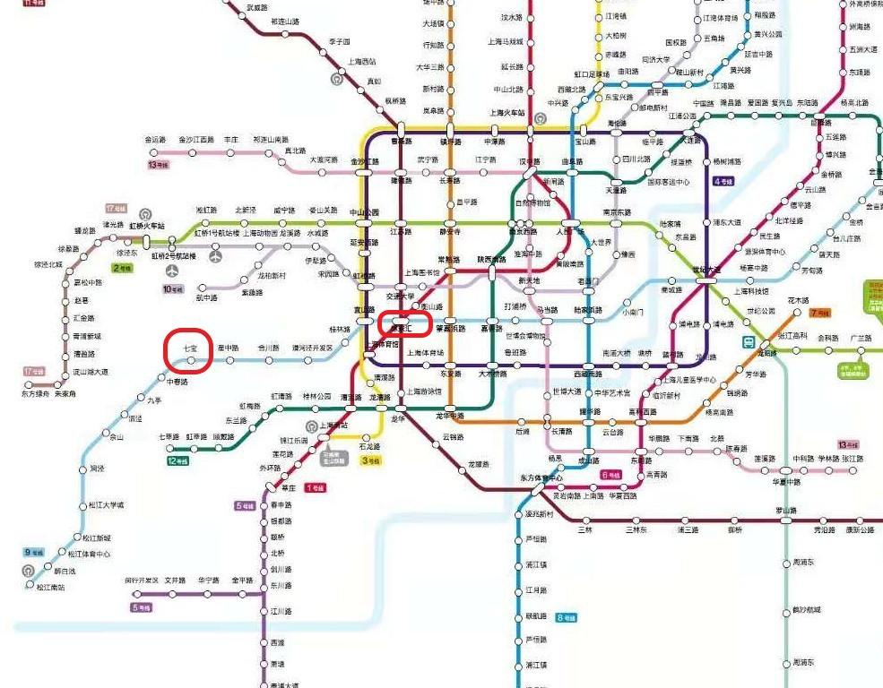 徐家汇駅と七宝駅の位置関係を示したマップの写真