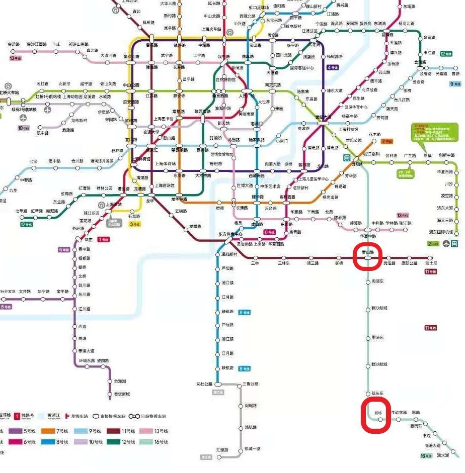 龙阳路站(龍陽路駅)と新場駅の位置関係を示したマップの写真