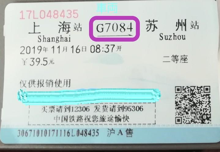 私が購入した上海から蘇州までの高速鉄道チケットを撮影した写真。車両番号G7084と書かれている