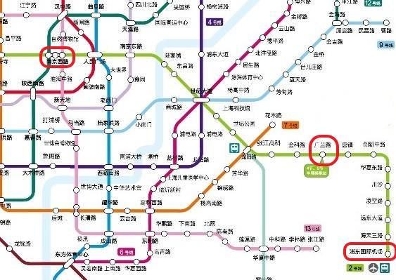上海市内から浦東国際空港に向かうための上海地下鉄の路線図の写真