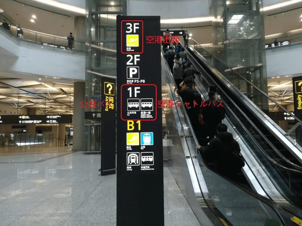 公共汽车(公共バス)と 机场一线(空港シャトルバス)乗り場の1Fに向かっている様子の写真