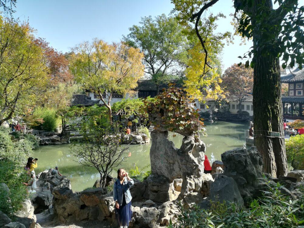 留園の庭園の様子