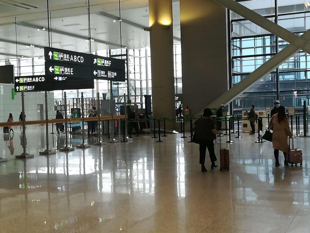 虹橋国際空港の入口の様子の写真