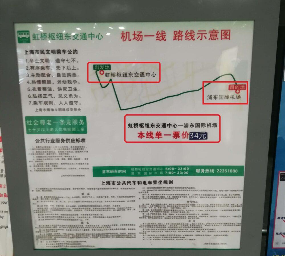 虹橋駅から浦東国際空港行きのシャトルバスはノンストップで34元の表示の写真