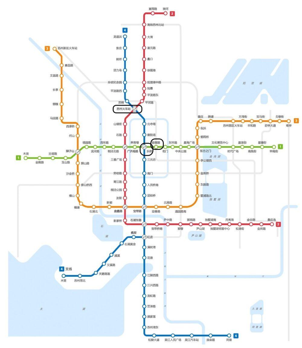 地下鉄を利用して臨頓路駅から蘇州駅までのアクセスを説明する写真