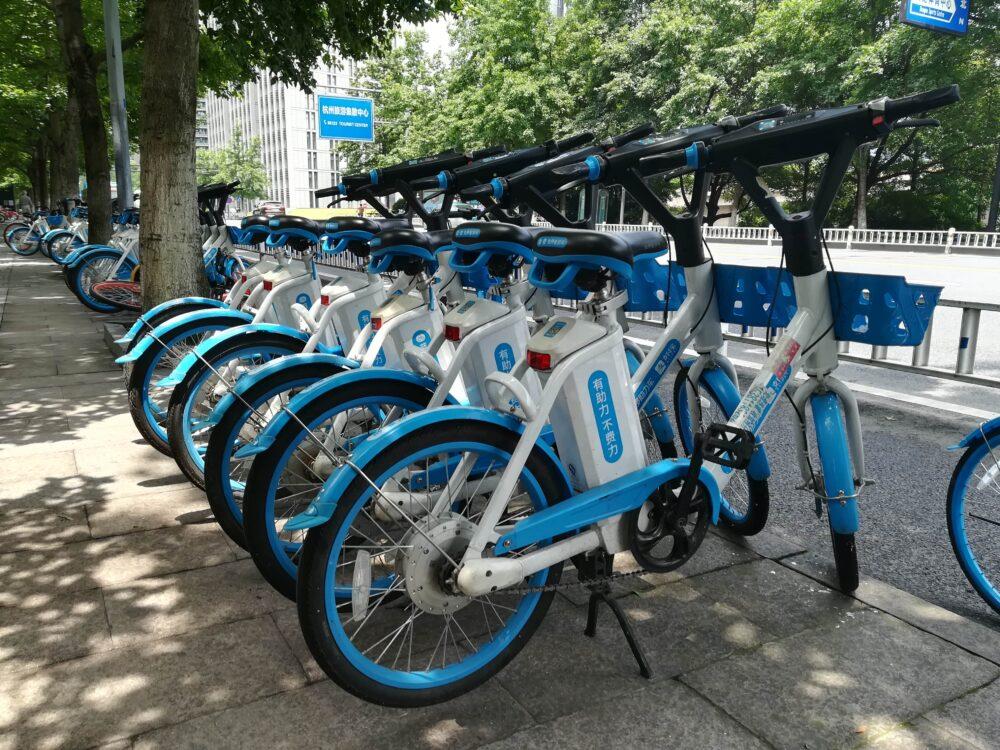 中国のシェア自転車の写真