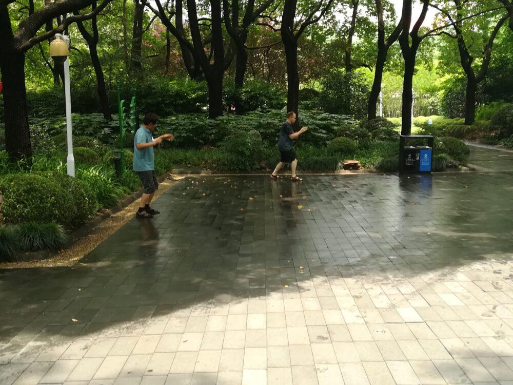 人民公園で太極拳をしている現地の人の様子の写真