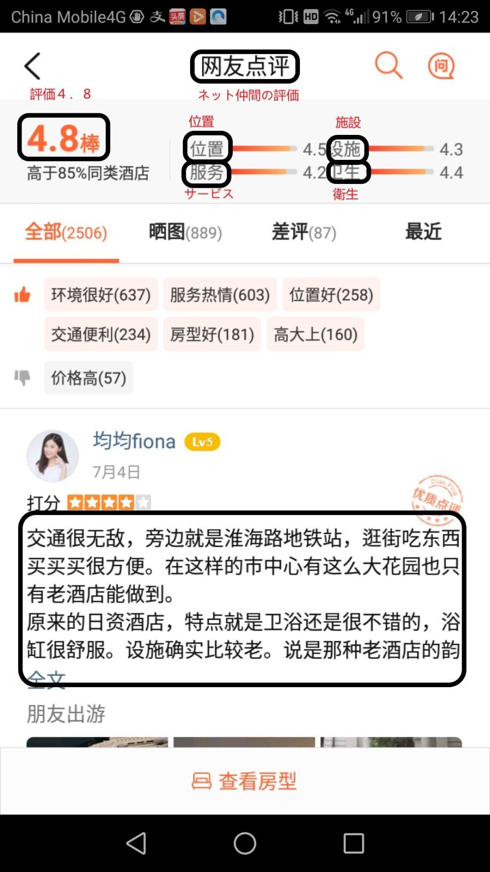 中国で最も信頼されている口コミサイト「大衆点評」による評価です